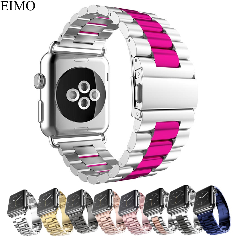 EIMO Stainless Steel Strap For Apple Watch band 44mm 40mm 42mm 38mm Iwatch Series 4 3 2 1 Classic Link Bracelet Wrist Watchband цена