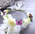 Bridal Acessórios Para o Cabelo Flores de Borboleta Coroa Festa de Casamento Mulher Meninas de Flor de Tecido Headbands Guirlanda
