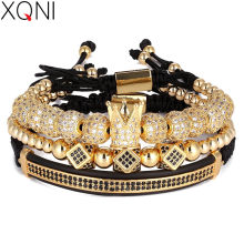 3pcs/Set Punk CZ Micro Pave Crown Beads Bracelet For Men Women Braided Rope Chain Luxury Fashion Jewelry Gift Resize 16-25cm(China)