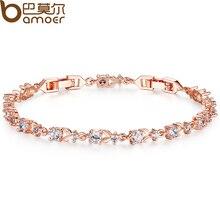 Браслет-цепочка bamoer корень ladies ааа сияющий циркон роуз позолоченные роскошные кристалл