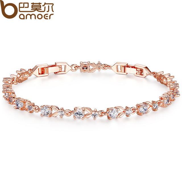 BAMOER 6 Colors Luxury  Rose Gold Plated Chain Link Bracelet for Women Ladies Shining AAA Cubic Zircon Crystal Jewelry JIB013