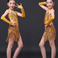 indian dress for kids girls dancewear costumes rose red gold top with skirt sequin fringed latin practice wear dress