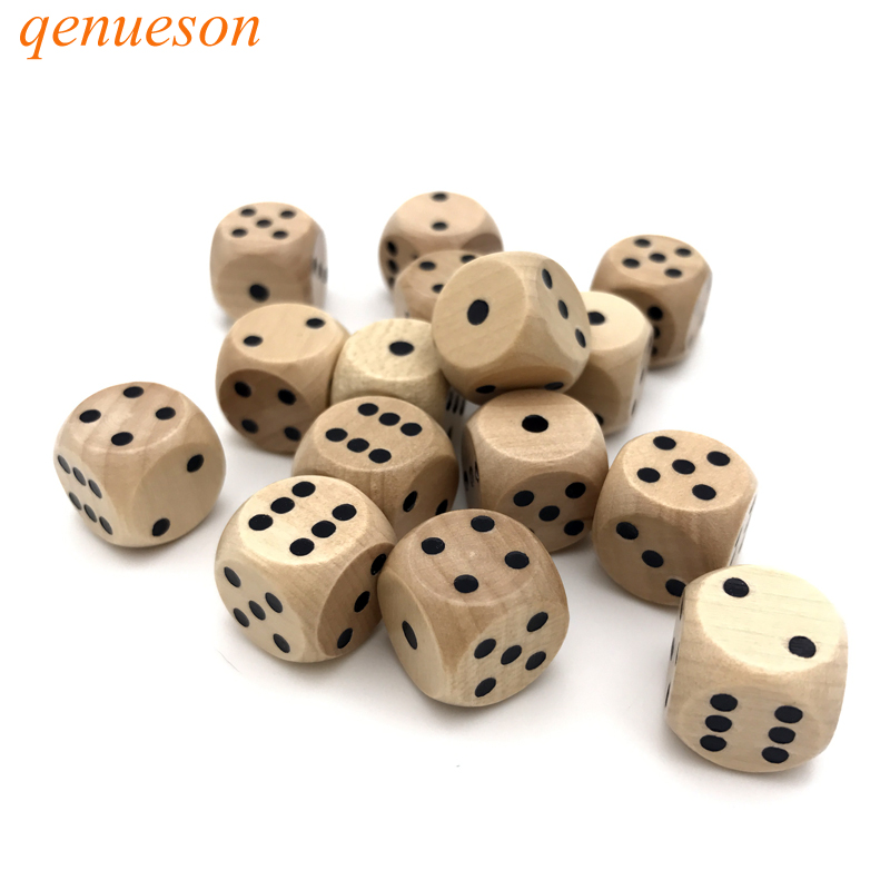 15Pcs/lots High-quality 16mm Wooden Dice Rounded Corner Woodiness Dice set Chidren Interesting Teaching Health Material qenueson