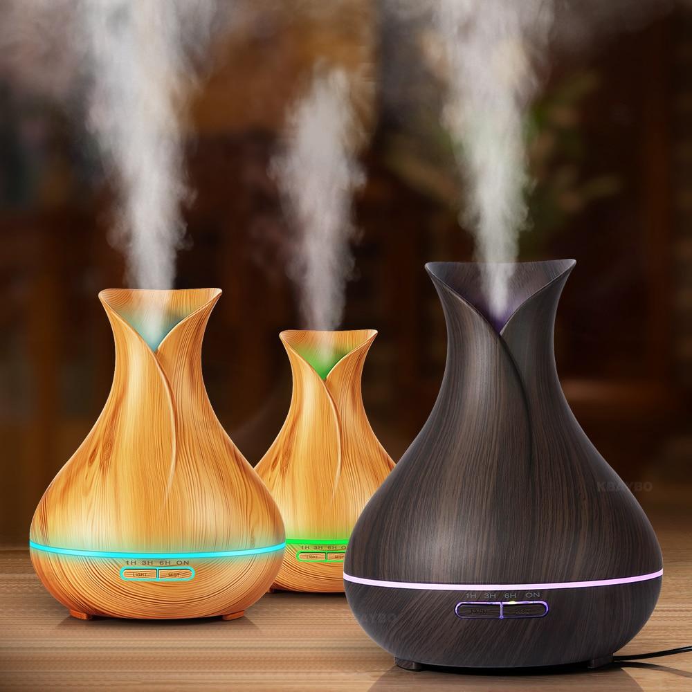 400 ml Luftbefeuchter Ätherisches Öl Diffusor Aroma Lampe Aromatherapie Elektrische Aroma Diffuser Nebel-hersteller für Home-Holz