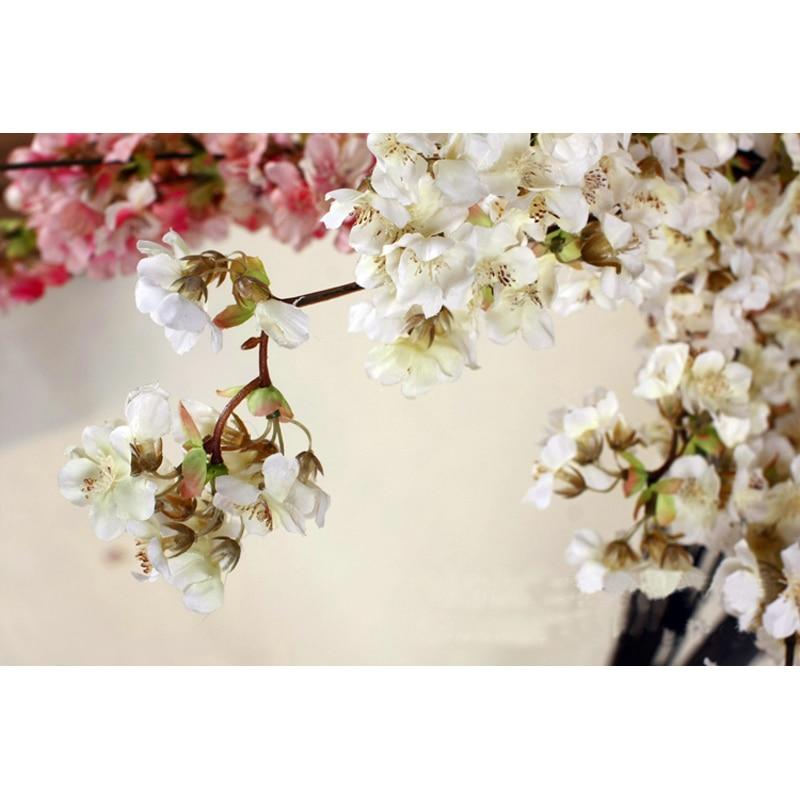 1pc small artificial sakura silk cherry blossom flowers 100cm long 1pc small artificial sakura silk cherry blossom flowers 100cm long white pink 2 colors fake flower home wedding decoration in artificial dried flowers mightylinksfo