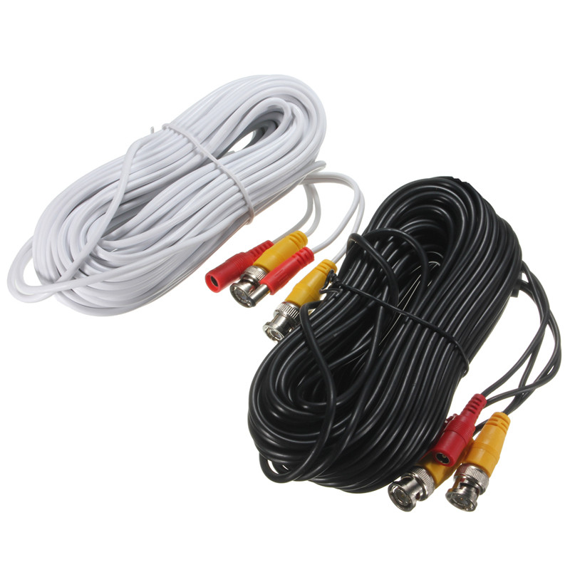 NEW 20m Security Video BNC DC Extension Lead Power Cable for CCTV Camera DVR System Black White Power Cable New Arrival