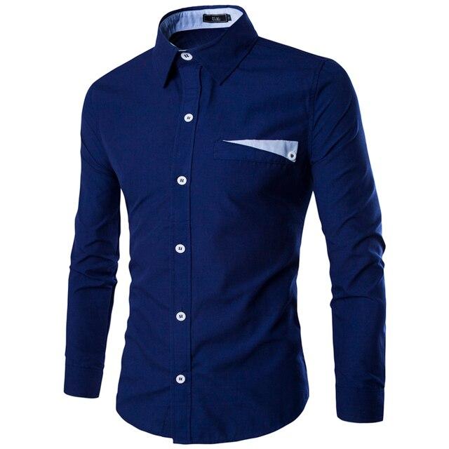 Новый бренд мужская свободного покроя с длинным рукавом с отложным воротником сплошной цвет рубашки тонкой-fit рубашка для мужчин бизнес 9048