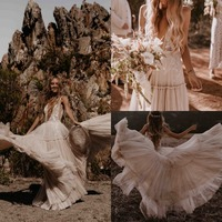 Champagne Wedding Dresses 2019 Deep V Neck Boho Bridal Gowns Sexy Beach Bride Dress Tulle Appliques Pleats Vestido De Noiva