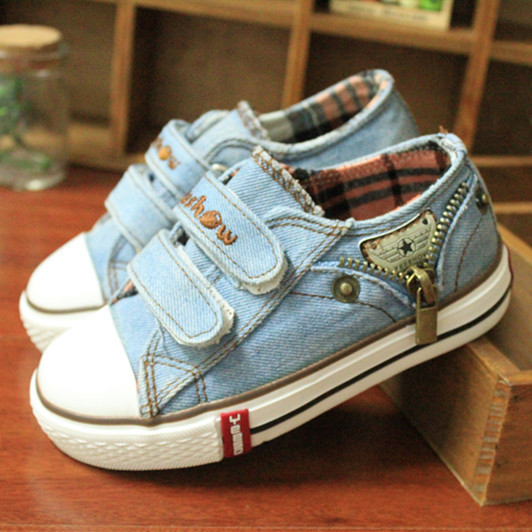 14 kinds New Arrived Size 25-37 Children Shoes Kids Canvas Sneakers Boys Jeans Flats Girls Boots Denim Side Zipper Shoes 6
