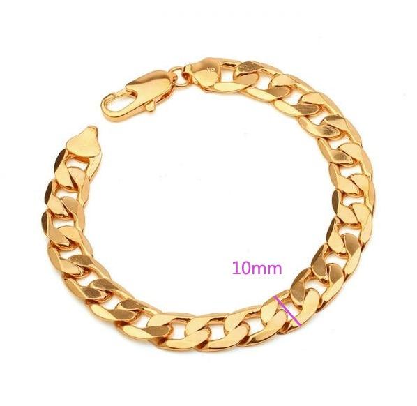 MxGxFam (200*10mm) 18 Yellow Gold Color Chain Bracelet Men with Environmental Copper