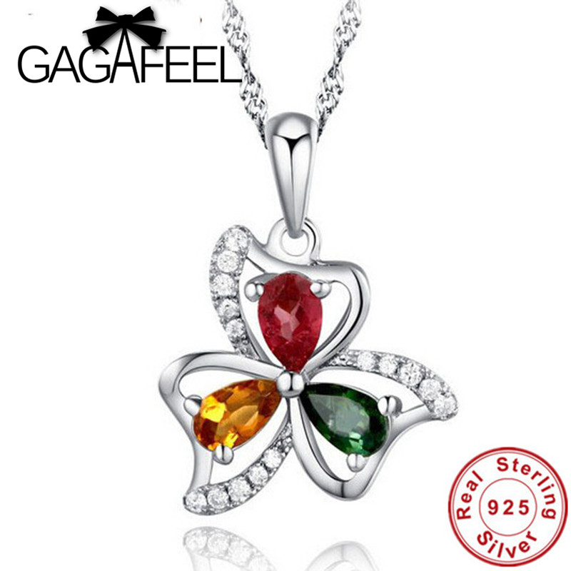 New Real Pure 925 sterling silver jewelry Wholesale beautiful flower Brazilian tourmaline pendants For women DN010