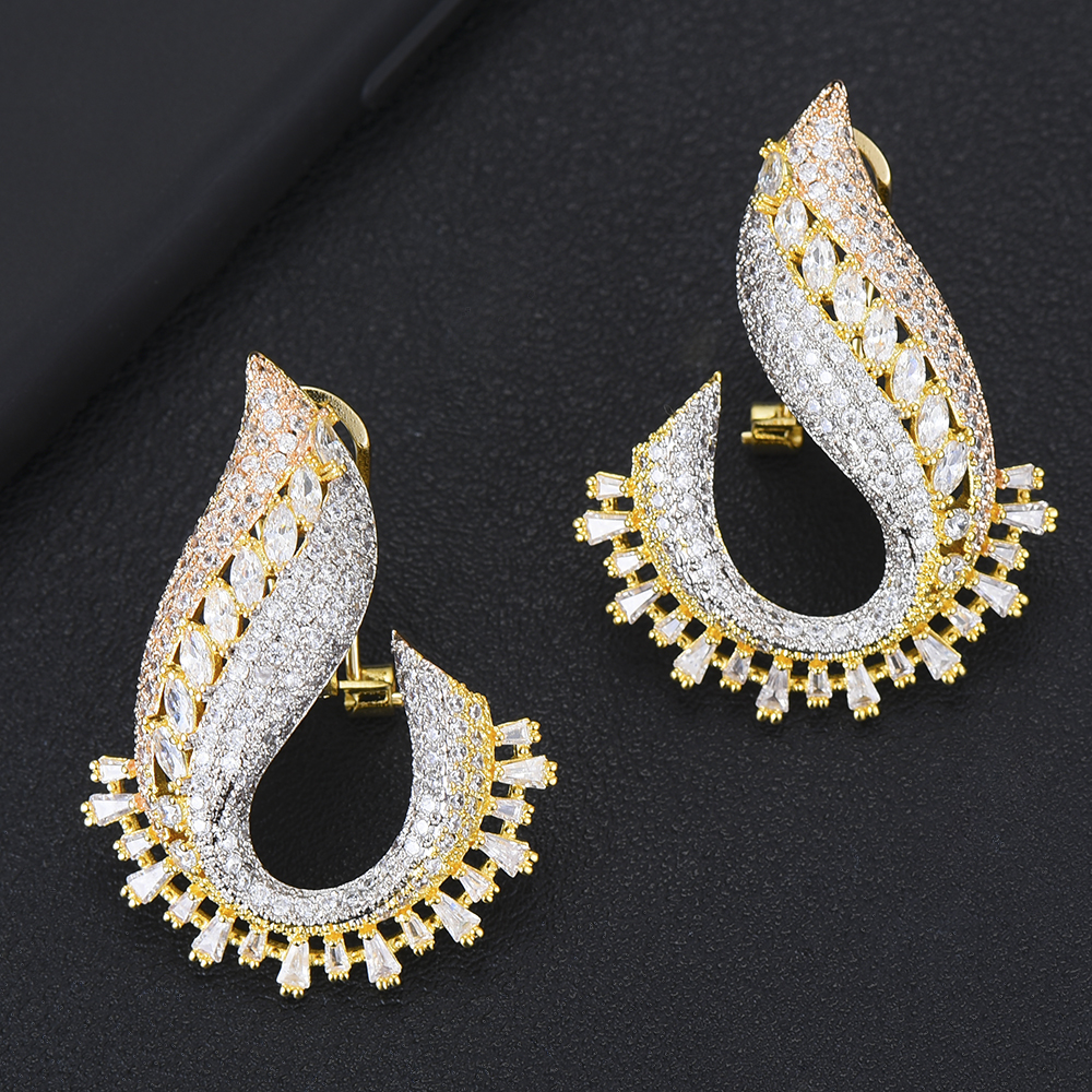 Original Design boucle d'oreille Full AAA CZ Luxury Romantic Sweet Blooming Flowers Stud Earrings Brand Top Quality Jewelry