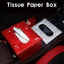 Автомобильный тканевый ящик, горный хрусталь, кристалл, авто держатель для салфеток, блок-тип, висячая многофункциональная коробка для салфеток, автомобильный Стайлинг, чехол для диаманта