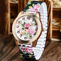 Quartz-watch Women Ladies Gift Floral Flower Band Peony Rose Gold Wrist Watch 2016 Elegant Beauty Watches relojes mujer