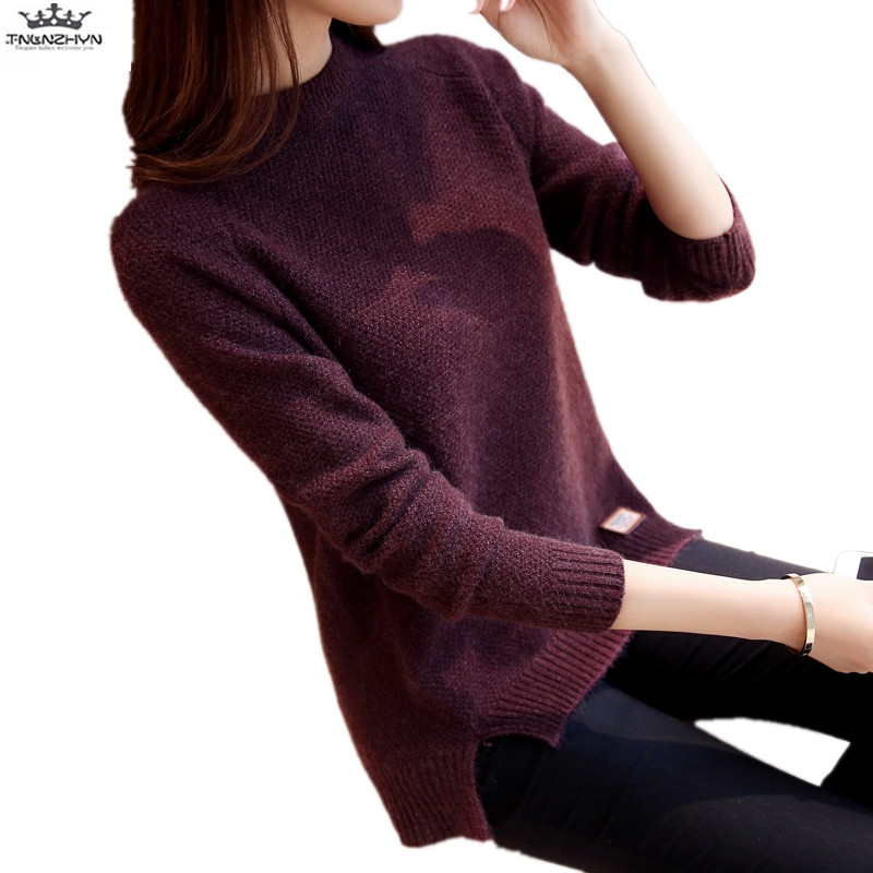 tnlnzhyn 2018 New Autumn Winter Women Sweater Long sleeve Slim Knitted pullover Swearter Casual Sweater And Pullovers Y1188 ...