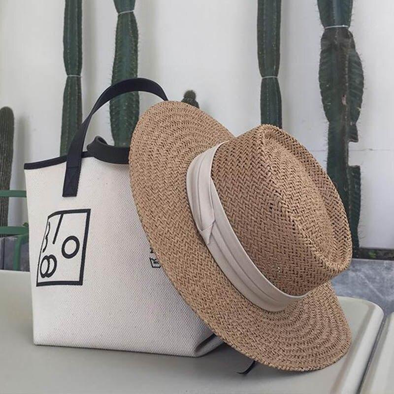 New Casual Handmade Women Summer Wide Brim Straw Hat Beige Ribbon Khaki Canotier Men Boater Hat Derby Fedora Beach Sun Hat