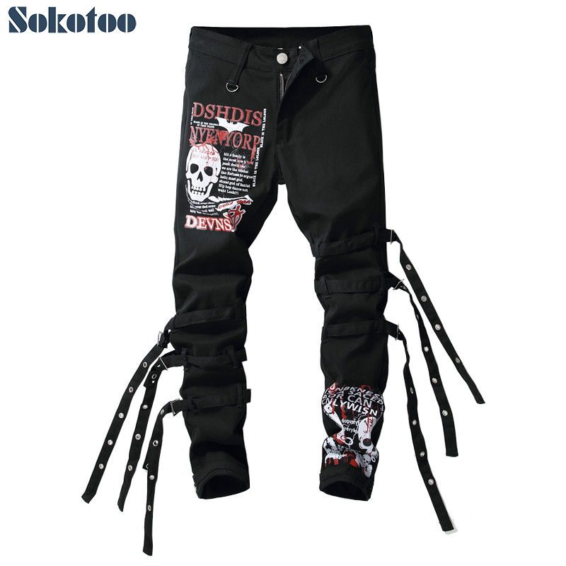 Sokotoo Men's Skull Letters Printed Black Jeans Trendy Slim Fit Straight Denim Pants