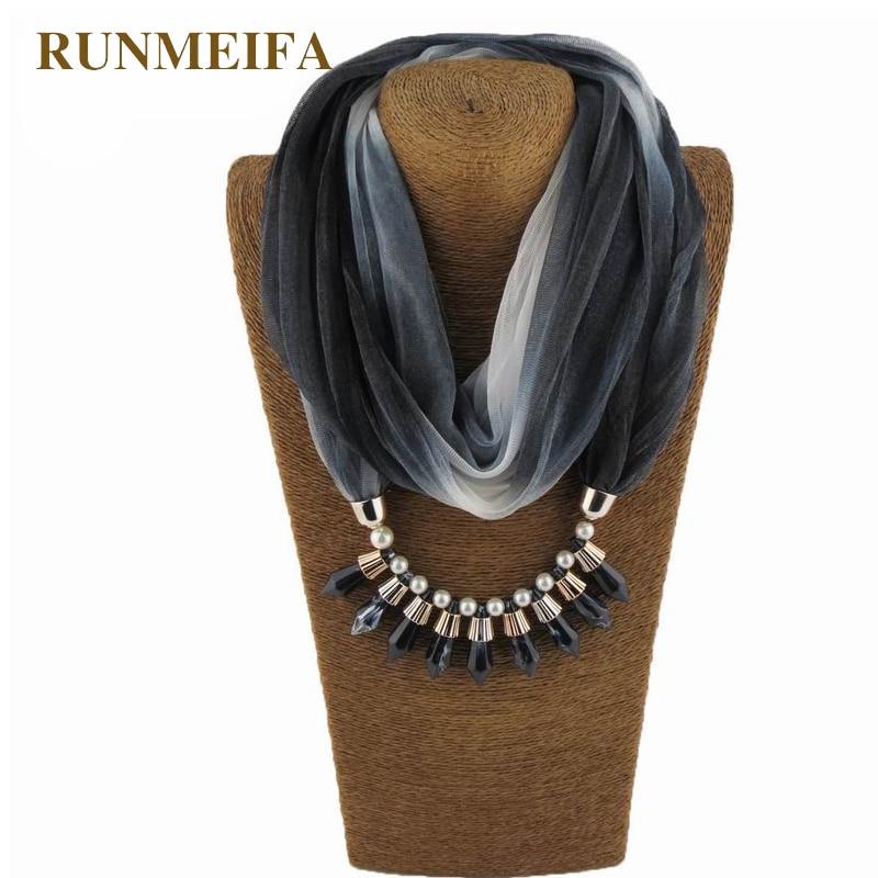 RUNMEIFA Fashion Women Gradient Colorful Scarf Resin Pendant Jewelry Soft Femal Shawl brand Pendant Hijab Sunscreen silk Scarves