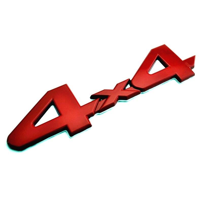 Emblème de voiture en métal rouge 4x4 insigne de coffre arrière autocollant adhésif autocollant pour Tacoma TRD hors route décoration de voiture