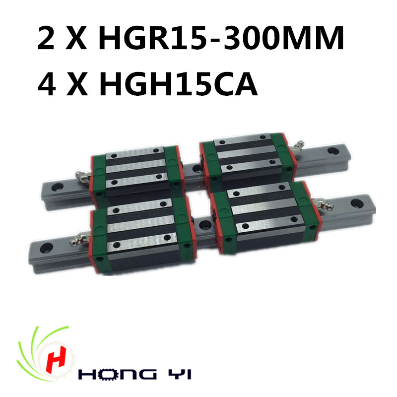 100% New HIWIN Linear Guide HGR15 300mm rail with 4pcs HGH15 CA Narrow Type blocks free shipping to argentina 2 pcs hgr25 3000mm and hgw25c 4pcs hiwin from taiwan linear guide rail