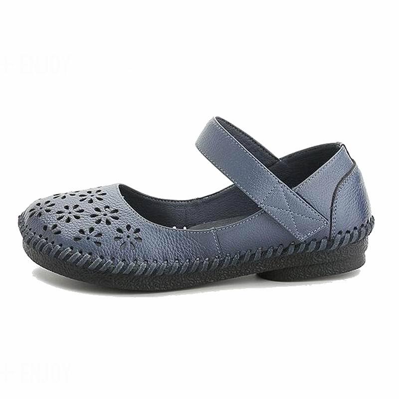 Casual Gktinoo Mode Noir Femmes Plat Cuir Mocassins 2018 Confortable Doux Véritable Chaussures Appartements bleu En D'été Femme qZqwUrnxv