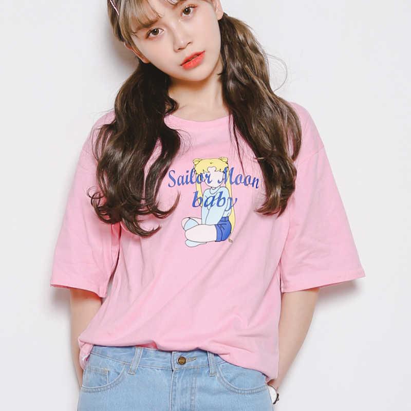 e8097ac9e1 women t shirt korea summer Cartoon printed loose short sleeved ...