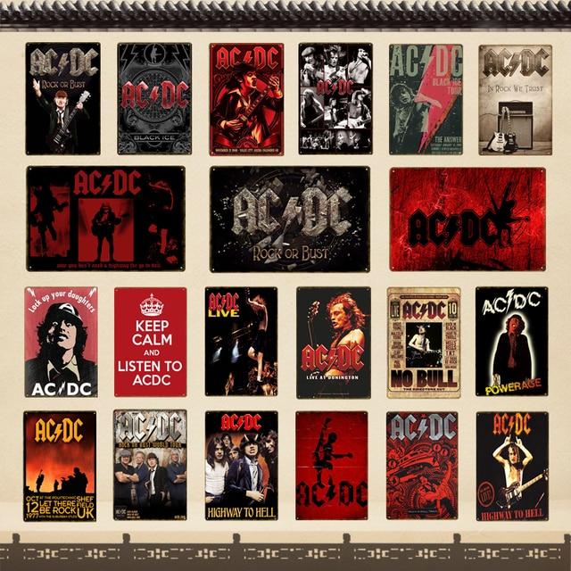 ACDC Band Music Bar Club Pubblicità Targa In Metallo Targhe In Metallo Vintage D