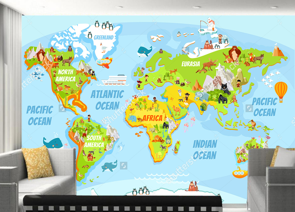 Customized childrens wallpapercartoon world map with a lot of customized childrens wallpapercartoon world map with a lot of funny animals for living room kids room background wallpaper in wallpapers from home gumiabroncs Choice Image