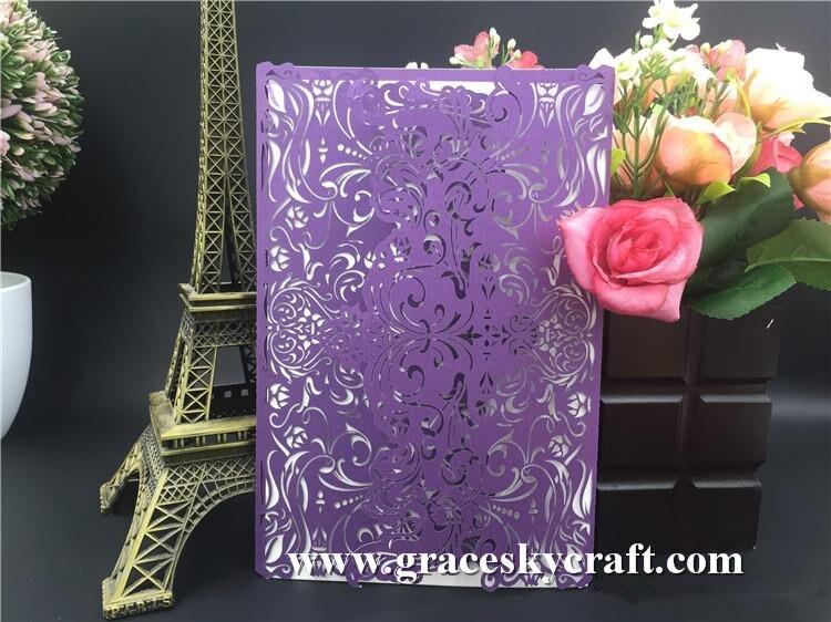 Elegant Wedding Invites Coupon: 20pcs Free Shipping Elegant Crown Lace Folding Design