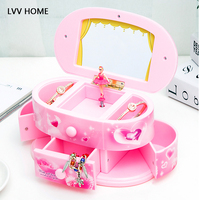 LVV HOME children jewelry storage box/cosmetic otating dancing ballet music boxes toy baby birthday gift