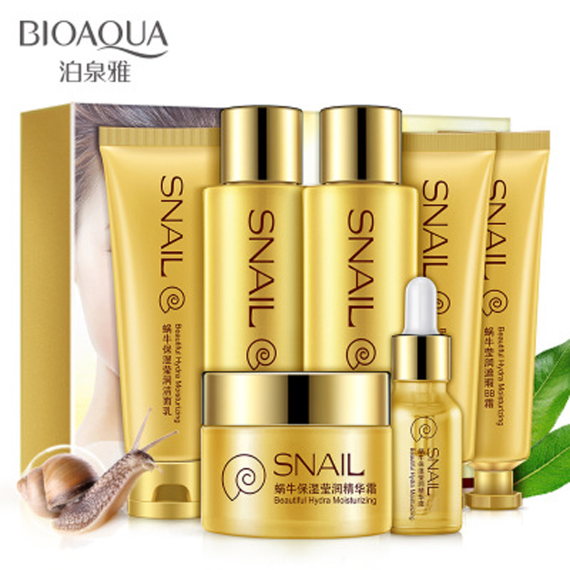 7pc/set New Snail Face Cream+toner+lotion+cream Whitening Moisturizing Cream+essence +lazy Su Yan Cream Skin Care Set cream cream live
