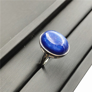 Image 3 - Natural Kyanite Ring Blue Cat Eye Healing Stone Oval Shape Anniversary Party AAAAA 16x14mm Woman Jewelry Luxury Adjustable Ring