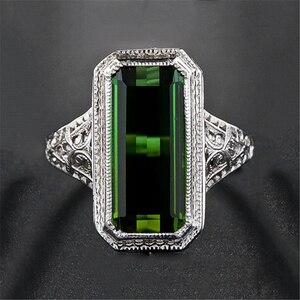 Винтажное большое кольцо с зеленым камнем, геометрические кольца серебряного цвета, кольца Болгария для мужчин и женщин, Мужская помолвка, ...