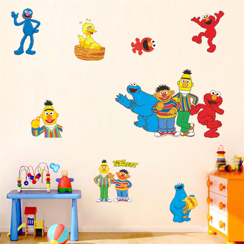 Sesame Street Elmo Big Bird Cookie Monster Cartoon cute Wall Stickers  children kids bedroom home decor