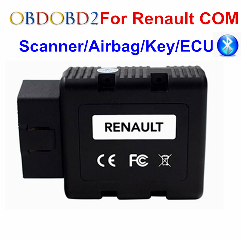 For Renault-COM Bluetooth Code Reader Scanner For Renault COM Key Programmer OBD2 Car Diagnostic Tool Can Clip For Renault lowest price 2017 super price maxidiag md801 code reader scanner for obd1 obdii protocol free shipping