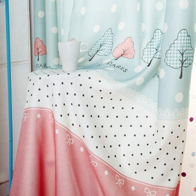 Kinder Fenster Vorhänge Blau Dot Mädchen Schlafzimmer Vorhang Stoffe Rosa  Spitze Vorhänge Kinderzimmer Druck Bestickte Tüll Sheer New