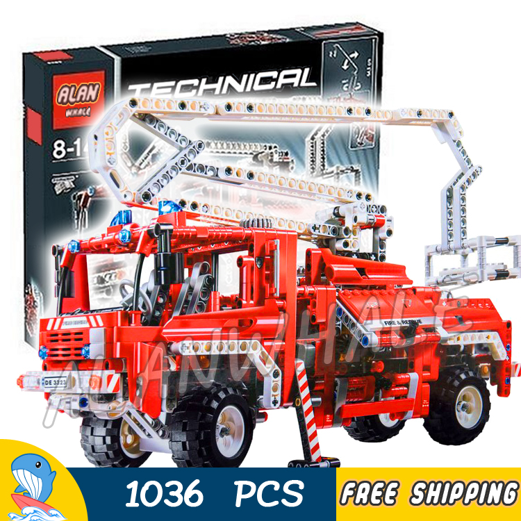 1036pcs Technic Fire Truck Diecast Cars automobile miniature 3323 Model Building Blocks Boys Toys Bricks Compatible With legos red mitsubishi lancer fortis diecast model show car miniature toys classcal slot cars