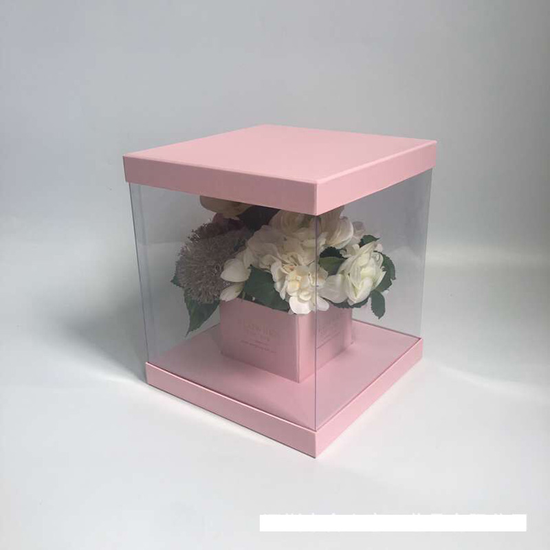 6pcs set pvc transparent flower gift box holiday party wedding gift packaging gift boxSmall PVC window open square folding flowe in Gift Bags Wrapping Supplies from Home Garden