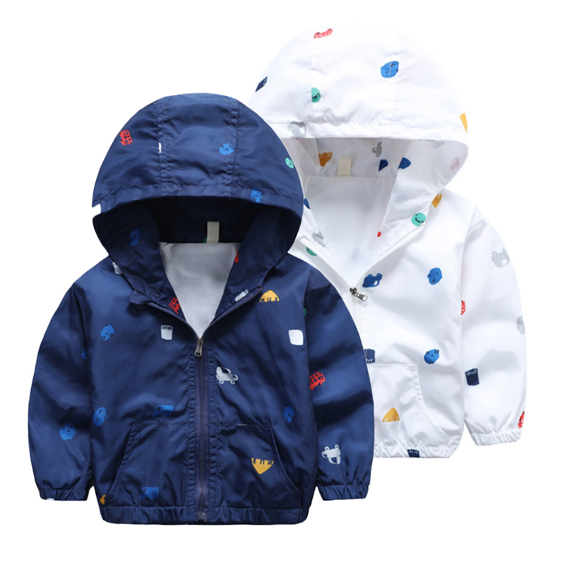 2-6T Baby Boys Girls Jacket Coats 2018 Summer Cars Printing Hooded Boys Jackets Fashion Boys Clothing Outwear&Coats for Kids