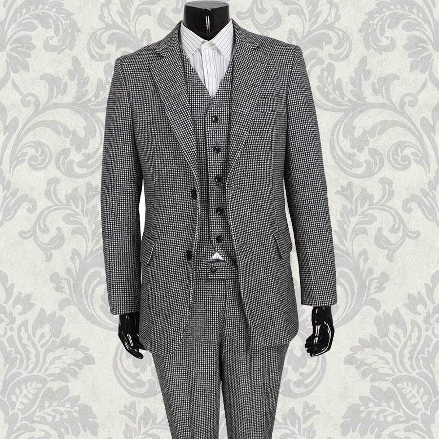 Wool Man Sute Wedding: 2014 British Style Tailor Made Grey Houndstooth Mens 3