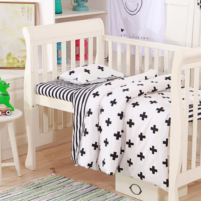 цены на 3pcs/set baby bedding set cactus black white cross pattern design cotton kids bedding for newborn girls and boys duvet cover