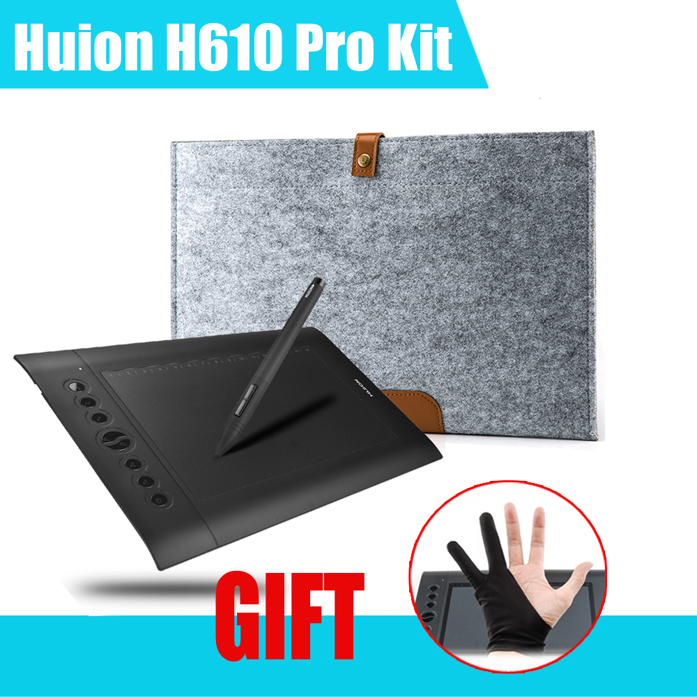 Original HUION H610 Pro Professional Graphics Drawing Tablet Digital Tablets + Anti-fouling Golve + 15Inch Wool Felt Liner Bag new huion k58 8 x 5 digital animation tablets art painting tablet boards usb professional graphics drawing tablet pad black