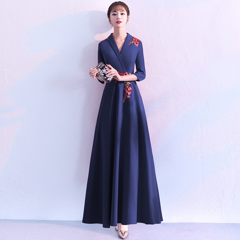 Chinese Evening Dress 2019 New Summer Banquet Elegant Elegant Sleeve Long Slim Slimming Dress Female
