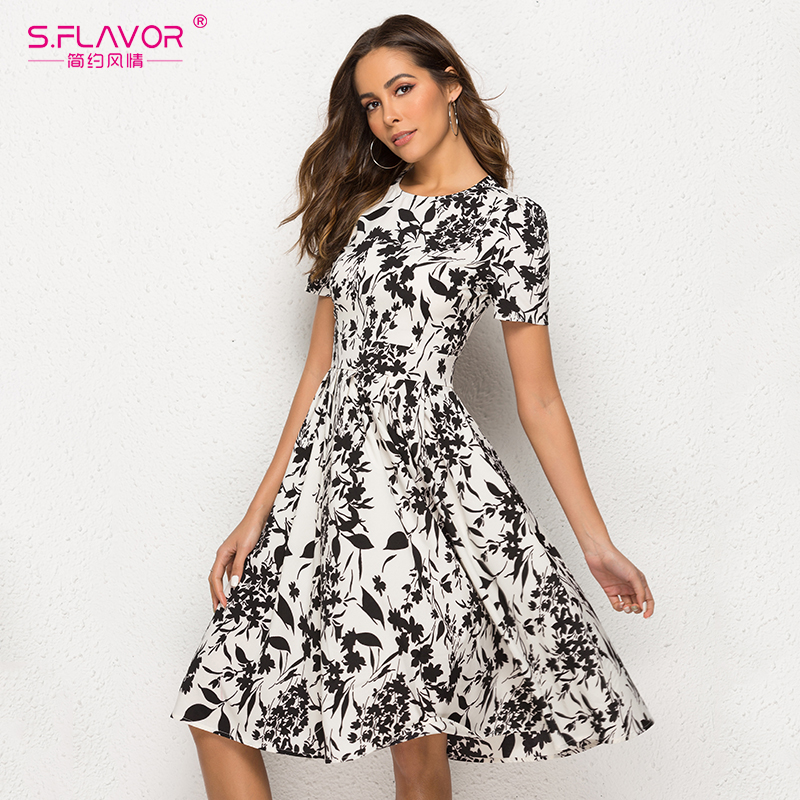 Image 2 - S.FLAVOR Women Short Sleeve Midi Dress Elegant Spring Summer Casual Dress Women Printing A line VestidosDresses   -