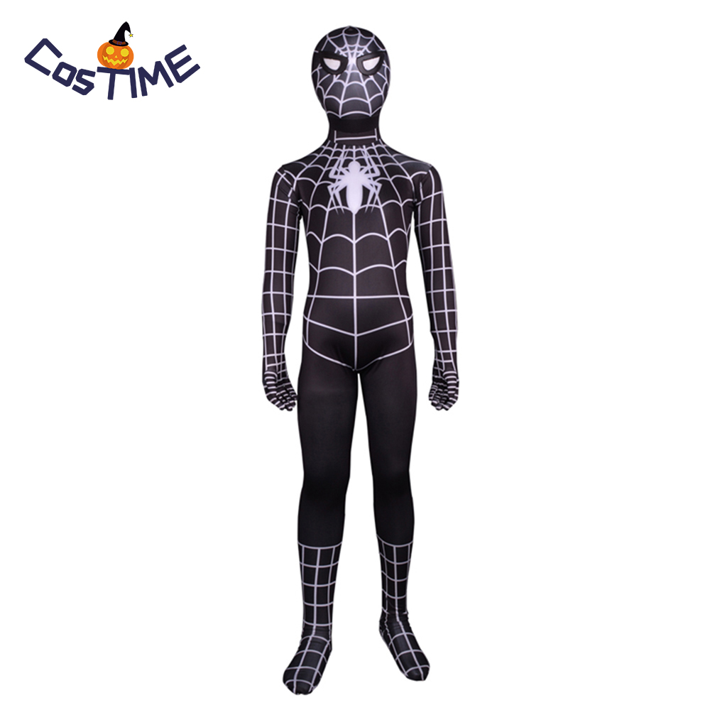 Kids Black Spider Man Costume Spiderman 3 Black Suit Spider Man Cosplay Costume Unisex Halloween Party Costume Holiday Dress