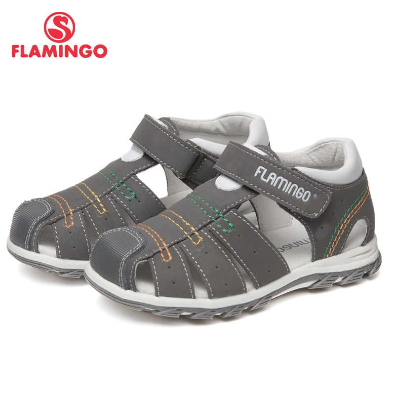 Фото - FLAMINGO Brand Arch Leather Insoles Hook& Loop Children shoes Ankle-Warp Kids Sandal for Boy Size 24-30 Flat 61-XS162 flamingo breathable hook