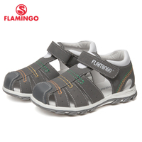 FLAMINGO Brand Arch Leather Insoles Hook& Loop Children shoes Ankle Warp Kids Sandal for Boy Size 24 30 Flat 61 XS162