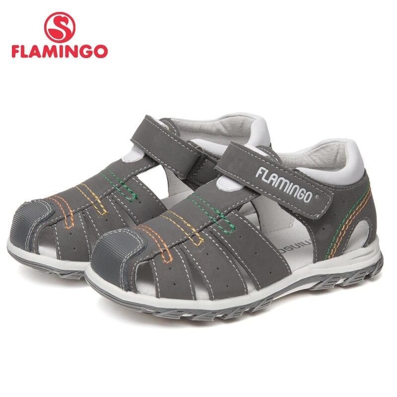 Marca FLAMINGO Arco Palmilhas De Couro Hook & Loop calçados Infantis Tornozelo-Warp Sandália Dos Miúdos para o Menino Tamanho 24- 30 61-XS162 plana