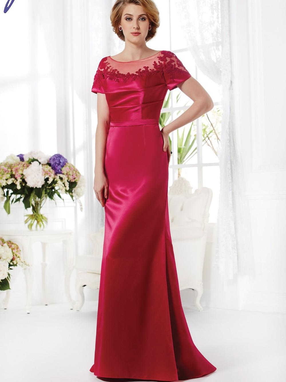 Elegant Long Red Mother Of The Bride Dresses Short Sleeves Illusion Neckline Floor Length Evening Formal Gown For Women XMD107