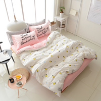 Creative Scandinavian Bulb 4Pc Quality Soft Washed Cotton Queen/King Size Bed Linen Doona/Duvet/Quilt Cover set&Sheet Pink White